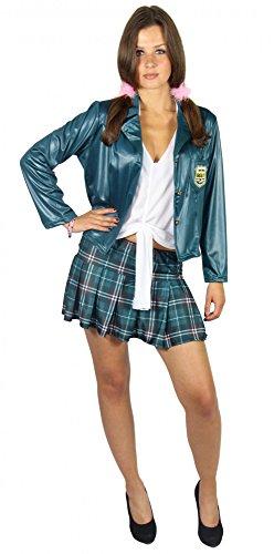 Foxxeo 40270 I sexy Schulmädchen Kostüm für Damen | Größe XS, S, M, L, XL | grünes Damenkostüm School Girl grüne Studentin Uniform grün Abi Party Mini Rock AbiParty Karneval Fasching, Größe:S