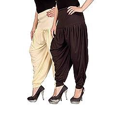 Navyataa Womens Lycra Dhoti Pants For Women Patiyala Dhoti Lycra Salwar Free Size (Pack Of 2) Cream & Brown