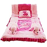 Safe N Cute Newborn Baby Puppy Ultra Super Soft Full Sleeping Set With Duvet (Perfect-Pink) - Trusted Brand High Quality / For Child Whose Age Is B/w 0 - 30 Months Or 2.5 Years /2 Puppy Pillows , 1 Velvet Super Soft Sleeping Base, 1 Velvet Duvet , 1 Recta