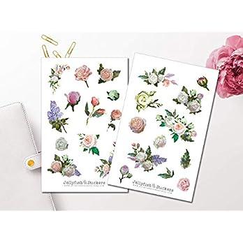 Gemälde Rosen Sticker Set | Florale Aufkleber | Journal Sticker | Blumen Sticker | Planersticker