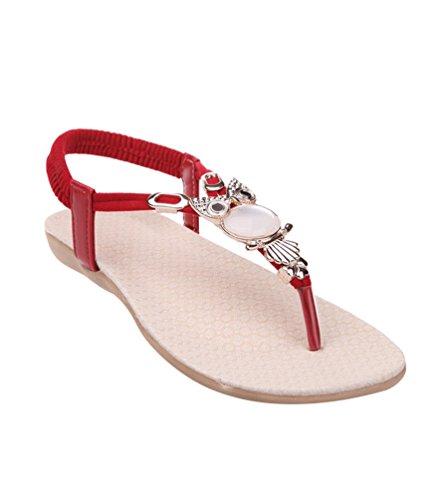 YOUJIA Damen Sommer Strandschuhe Offene T-Spangen Sandalen Knöchelriemchen mit Strass Zehentrenner Thongs Rot