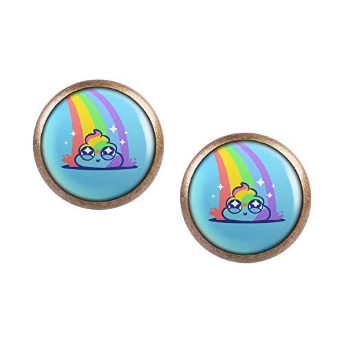 Mylery Ohrstecker Paar mit Motiv Rainbow Poop Häufchen bronze 12mm