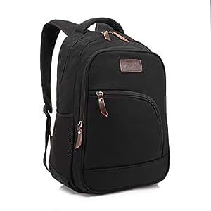 ZeleToile Canvas Computer Bag School Shoulder Backpack Travel Rucksack Bag Black