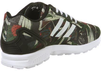 adidas Originals Zx Flux, Baskets mode femme Noir, blanc, vert et rouge