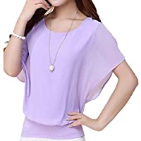 flywinner Women All-match Chiffon Blouse O-Neck Plus Size Short-Sleeve Tops T Shirt Purple Small