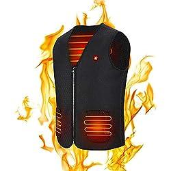 Chaleco Calefactable USB Termico Calefactor para Mujeres y Hombres, Chaleco Corporal CáLido con 3 Temperaturas Chaquetas con Calefaccion para Actividades Camping Senderismo Caza Esquí Pesca (L)