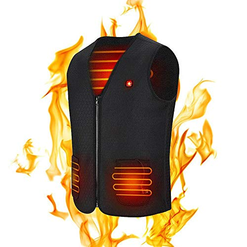 LayOPO Gilet Riscaldato USB Giacca Riscaldabile Elettrica per Uomo E Donna, USB Ricarica Abbigliamento con 3 Temperature per Alleviare Il Dolore Caccia Moto Escursionismo Campeggio (Senza Batteria)