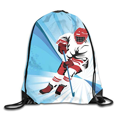 EELKKO Drawstring Backpack Gym Bags Storage Backpack, Hockey Player Makes A Strong Shot On Goal Rival Illustration Abstract Backdrop,Deluxe Bundle Backpack Outdoor Sports Portable Daypack (Black Coffee Shots)