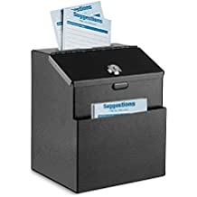 Spendensammlung Wahlurne mit 25 Feedback-Karten Erweiterungsschrauben und 2 Schl/üsseln Installationsschrauben Flexzion Vorschlagsbox zur Wandmontage aus Stahl mit Schloss
