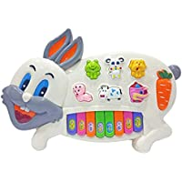 Popsugar Rabbit Musical Piano with Music, Animal Sounds and Flashing Lights Toy for Kids, White