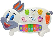 Popsugar - TH3300W Rabbit Musical Piano with Music, Animal Sounds and Flashing Lights Toy for Kids, White