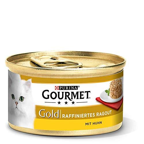 Purina GOURMET Gold Raffiniertes Ragout, köstliches Katzennassfutter, fein geschnetzelte Stückchen, Katzenfutter nass, 12er Pack (12 x 85 g Dose) - Hühner Napf Futter