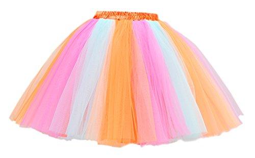 Honeystore Damen's Mini Tutu Ballett Mehrschichtige Rüschen Unterkleid Orange Blau Rosa