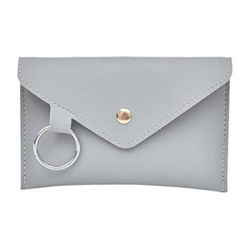 Damen Frauen Mädchen Reine Farbe Ring Leder Messenger Schultertasche Brusttasche (Grau)