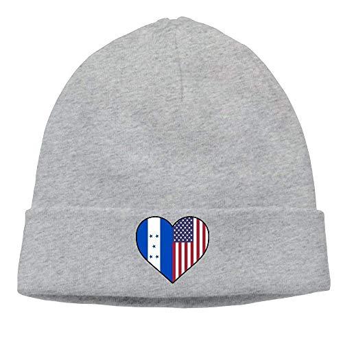 VYPHN Unisex Honduras Flag Half America Flag Half Heart Shaped Soft Skull Cap