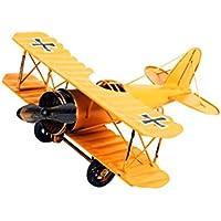 LIOOBO Vintage modelo de avión Vintage modelo de avión de hierro antiguo avión creativo para la decoración del hogar (amarillo)