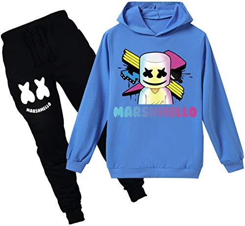 FLYCHEN Chándales Deportiva para Niños Estilo Marshmello DJ Sonido Eléctrico Hip-Hop Color Sólido Sudadera y Pantalones Chicos - Azul 5-130