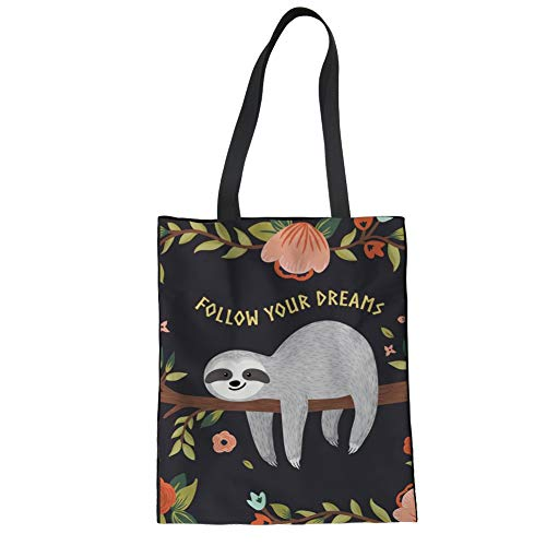 Nopersonality Canvas Tote Bag Cute Sloth Flower Print Follow Your Dreams Grocery Handbag Casual School Cotton Shopping Shoulder Bag for Women Girls Black - Print Tote-geldbeutel