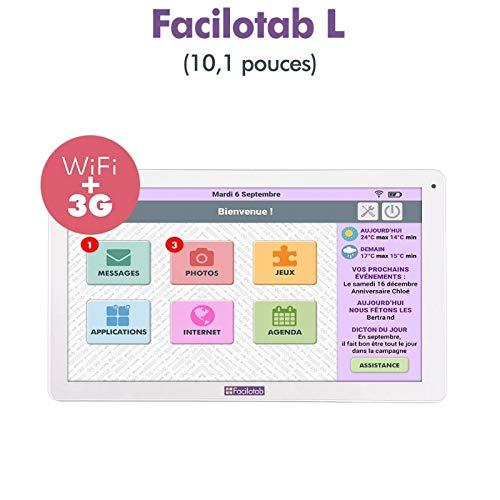 FACILOTAB Tablette L 10,1 Pouces WiFi/3G+ - 32 Go - Android 7 (Interface simplifiée pour Seniors)