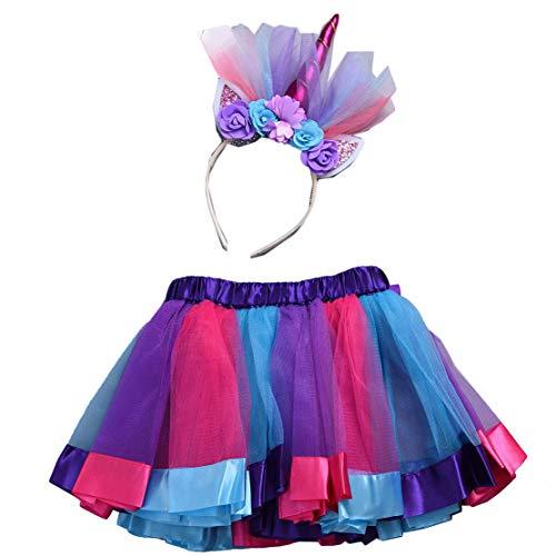 egenbogen mit Einhorn Blumen Stirnband Kinder Einhorn Kostüme für Party Karneval Cosplay ()