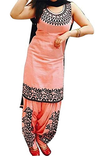 Cotton Embroidered Peach Unstitched Patiala Suit