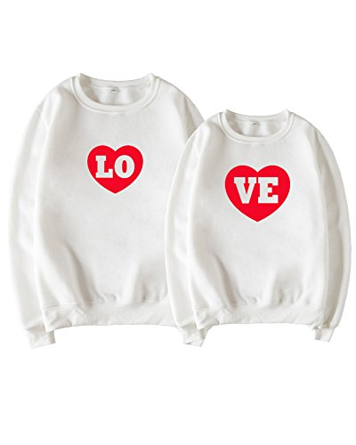 *Minetom Paar Pärchen Pullover Set Hoodies Langarm Kapuzenpulli Sweatshirt Pullover Tops Bluse Queen King 09 Drucken Kapuzen Sweatshirt 2 Stücke B Weiß VE DE 50 (Damen)*