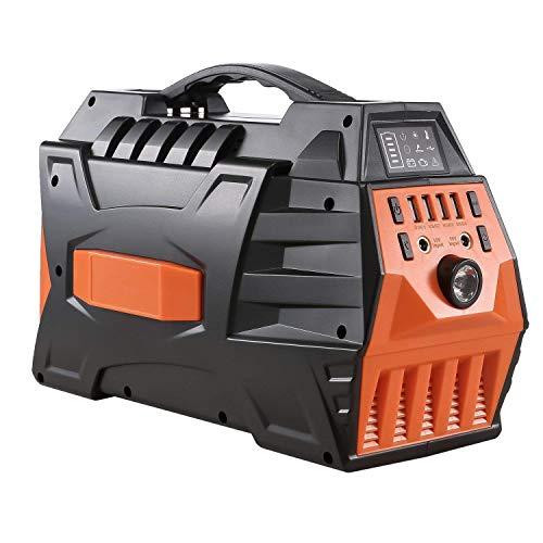 WANGTAO 500W/296Wh Generatore Portatile di continuità Alimentatore Inverter Sinusoidale Puro con Doppia Presa 110-240V AC E 4 Porte USB per Il Campeggio E all'Interno,Orange