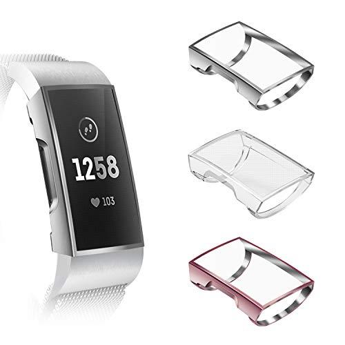 Fintie Hülle kompatibel für Fitbit Charge 3 / Charge 3 Special Edition - [3 Stück] Ultra-Dünn Leichte Hochwertige Polycarbonat Harte Schutz Gehaüse Abdeckung (Schwarz/Rosa//Transparent)