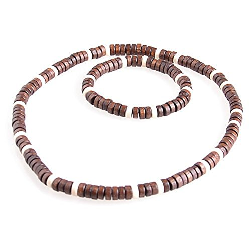Set moderno que se compone de un collar y una pulsera. Fabricados en auténtica madera y diseñados en tonos marrones.Gracias a una goma elástica, el producto se adapta a cada persona.La combinación de pulsera y collar es un auténtico imprescindible no...