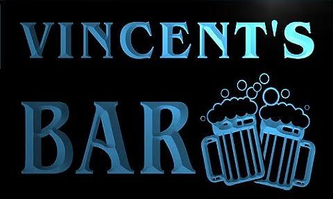 w000608-b VINCENT'S Nom Accueil Bar Pub Beer Mugs Cheers Neon Sign Biere Enseigne Lumineuse