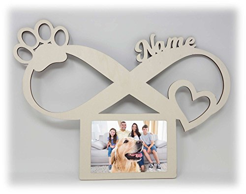 Hunde Pfoten Bilderrahmen 10x15 Individuell mit Namen Personalisiert als Geschenk I Erinnerung Hundeliebhaber -