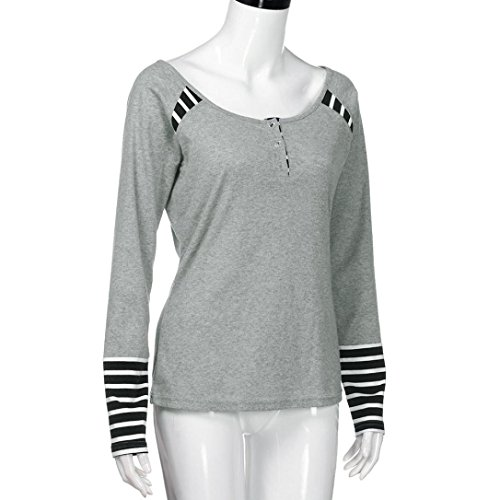 HUHU833 Blouse Femmes Casual Chemise rayée à manches longues mode Tops Sweater Tee-Shirt Gris