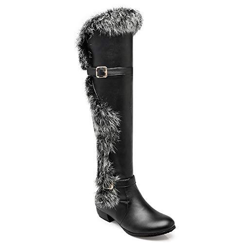 ZPFME Damen Oberschenkel Hoch Flache Niedrige Ferse Damen Schnalle Winter Elegant Hohe Stiefel Overknees Stiefeletten,Black-EU:43=12B(M) US