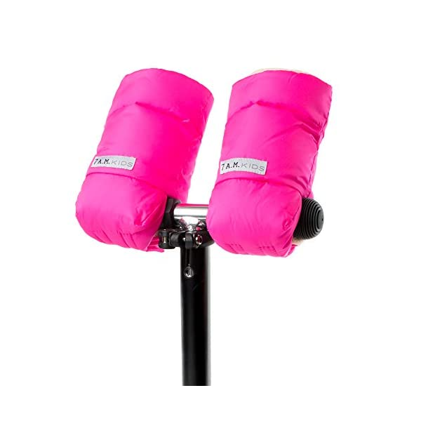 7AM Enfant WarMMuffs 212 Kids Neon Pink 7AM Enfant Conveniently attaches to any scooter or bike handle with hook & loop fasteners Roomy cuffs for hands and jacket sleeves Water repellent outer shell 1