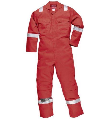Hohe Sichtbarkeit Overall (Bizweld Iona Flammhemmend Hohe Sichtbarkeit Knie Polster Arbeits- Anzug Overall - Rot, M)