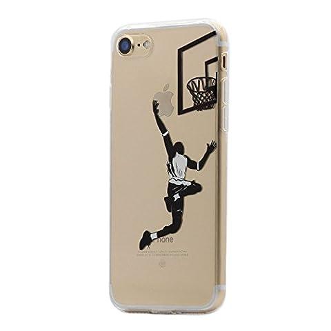 Coque iPhone 8 / 7, Keyihan Motif Noir Ultra Mince Clair Transparente Souple TPU Silicone Housse Étui Protecteurr pour Apple iPhone 8 et iPhone 7 (Jouer au basket)