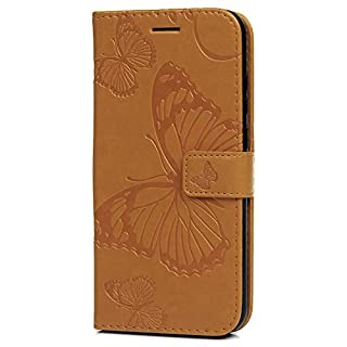 Huawei Y6 2019 Hülle, Huawei Y6 Pro 2019 Hülle, stoßfest, Flip Wallet Case PU Leder Slim Silikon Bumper Book Folio Schmetterling Schutzhülle mit Standfunktion Kartenhalter für Huawei Y6 2019 - Orange