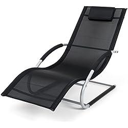 Ampel 24, Hamaca MIAMI con apoyabrazos | silla mecedora de aluminio resistente | asiento cómodo | negro/gris