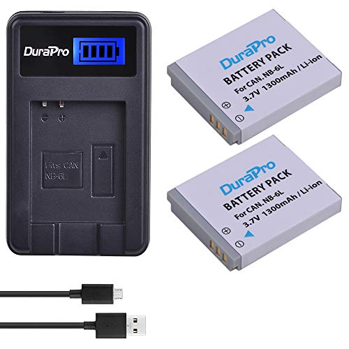 DuraPro NB-6L,NB-6LH Akku + LCD USB Ladegerät für Canon Kameras Canon Powershot SX500 is, SX710 HS,SX520 HS,SX530 HS,SX510 HS,S120,SX700 HS,SX610 HS,SX600 HS, D30 und S95 Kameras, 2 Stück