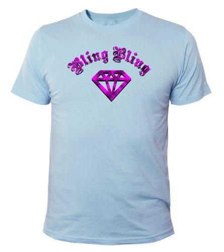 Mister Merchandise Cooles Fun T-Shirt Bling Bling Hellblau