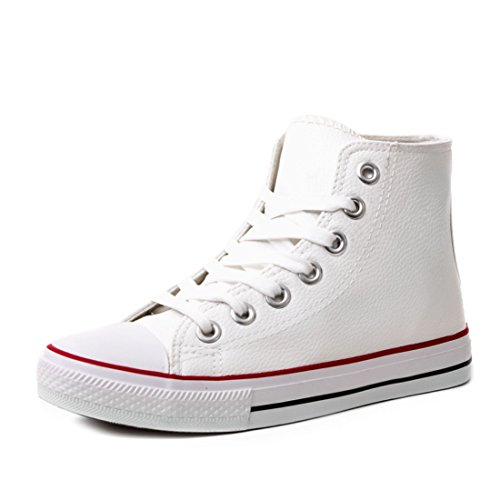 Marimo Klassische Unisex Damen Herren Schuhe High Top Sneaker Turnschuhe in Lederoptik Weiß 43