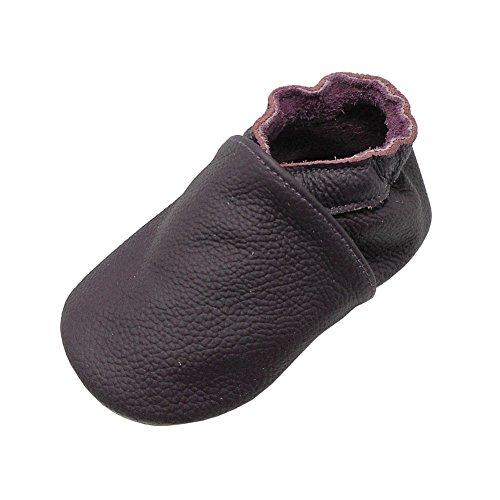 Yalion Baby Weicher Leder Lauflernschuhe Krabbelschuhe Babyschuhe Babyhausschuhe(Dunkellila,0-6 Monate)
