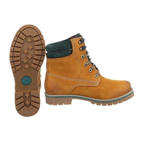 Schnürstiefeletten Leder Damenschuhe Klassischer Stiefel Blockabsatz Schnürer Schnürsenkel Ital-Design Stiefeletten Gelb Orange