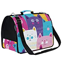 LKZNT Pet Carrier Dog Cage Multicoloured Meow Portable Travel Cat Puppy Rabbit Bag Net Breathable Handbag with Non-slip Pad
