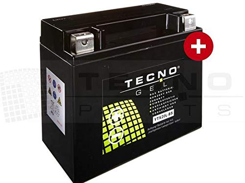 TECNO-GEL Motorrad-Batterie YTX20L-BS, 12V Gel-Batterie 20Ah (DIN 82000), 175x87x155 mm inkl. Pfand