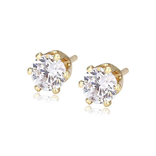 Fashion Earrings,Beautiful Ear Piercing,Stud Earrings, Simple Elegant Earrings Studs With Synthetic Cubic Zirconia Jewelry For Women Valentine's Day Gifts S28-21782 Dark Blue Light Yellow Gold Color