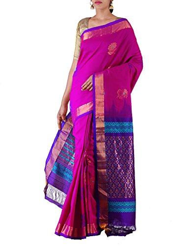 Unnati Silks Women Purple-Blue Pure Handloom Uppada Silk Cotton Pattu Saree