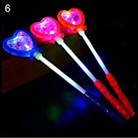 Gemini_mall 1pc LED Flashing Princess Star Heart Wand Magic Lights Up Glow Sticks Party Concert Christmas Light Up Toy for Kids Party Favour Party Bag Filler Gifts Xmas Stocking Fillers Heart