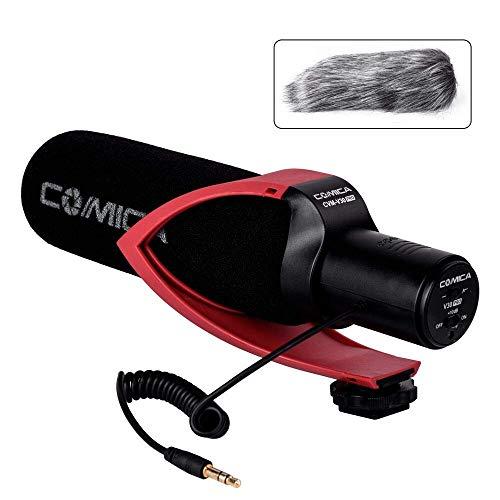 Comica CVM-V30 PRO Kamera Mikrofon Super Cardioid Richtmikrofon Shotgun Video Kondensator mikrofon für Canon Nikon Sony Panasonic DSLR Camcorder (mit Windmuff) (rot)