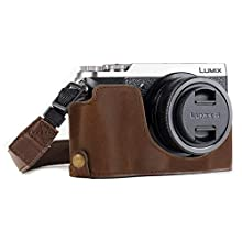 MegaGear MG973 Ever Ready Leather Half Case and Strap with Battery Access for Panasonic Lumix DMC-GX85/GX80 Camera - Dark Brown